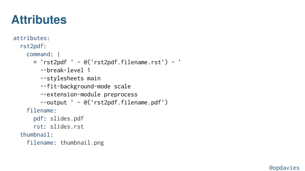 Attributes attributes: rst2pdf: command:   = 'r...