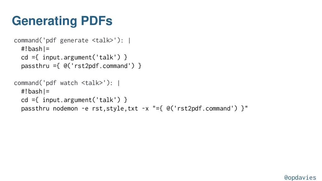 Generating PDFs command('pdf generate <talk>'):...
