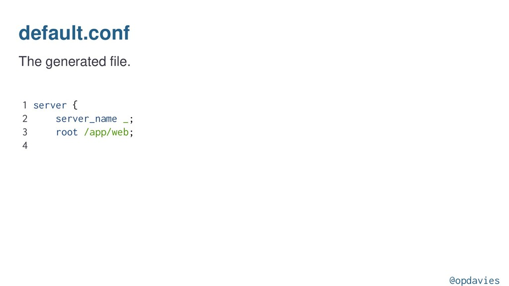 default.conf The generated file. 1 server { 2 s...