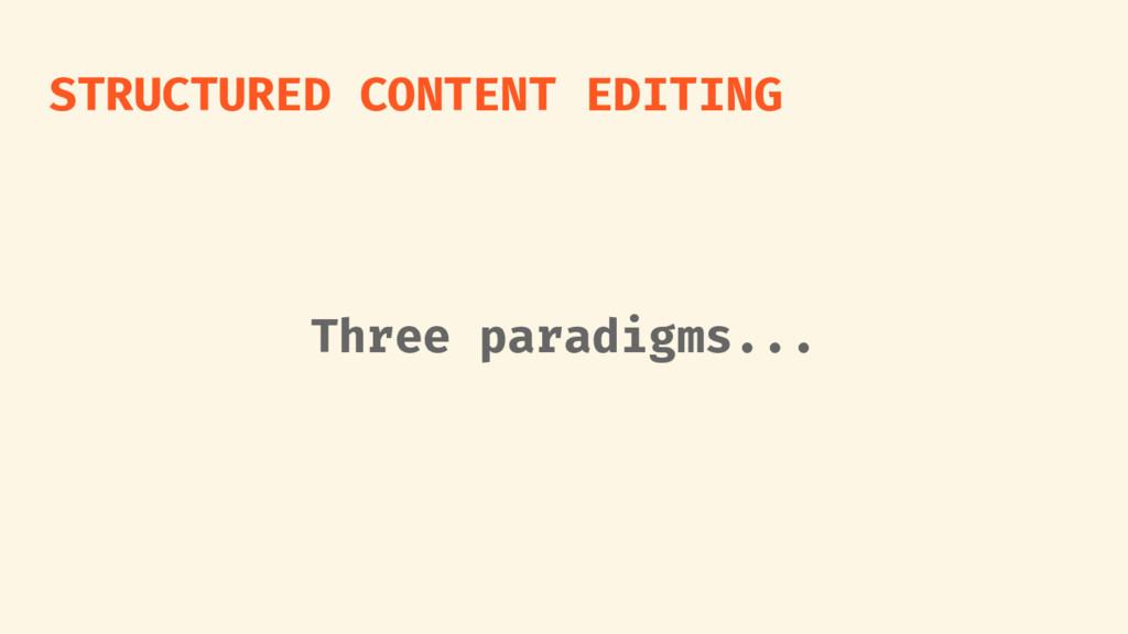 STRUCTURED CONTENT EDITING Three paradigms...