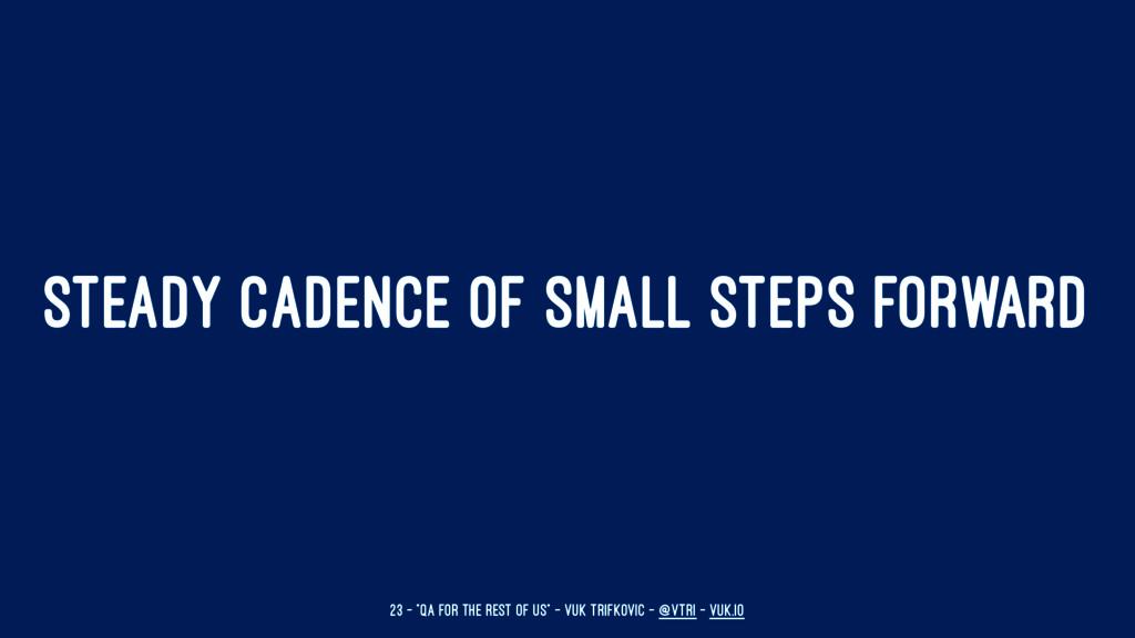 """STEADY CADENCE OF SMALL STEPS FORWARD 23 — """"QA ..."""