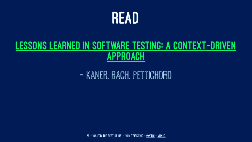 READ Lessons Learned in Software Testing: A Con...