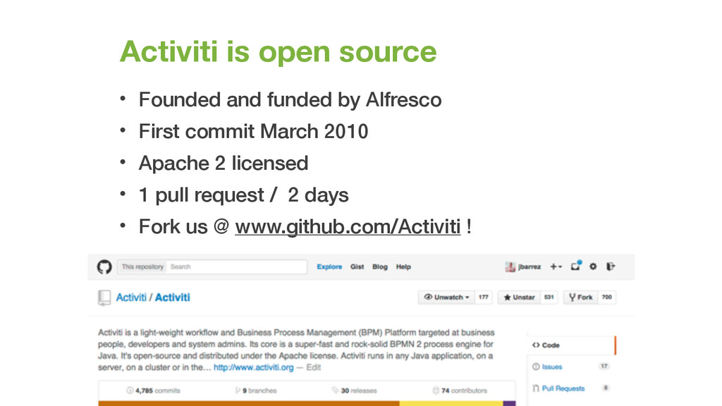 Activiti is open source • Founded and funded by...