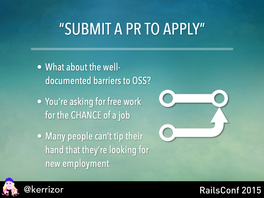 "@kerrizor RailsConf 2015 ""SUBMIT A PR TO APPLY""..."