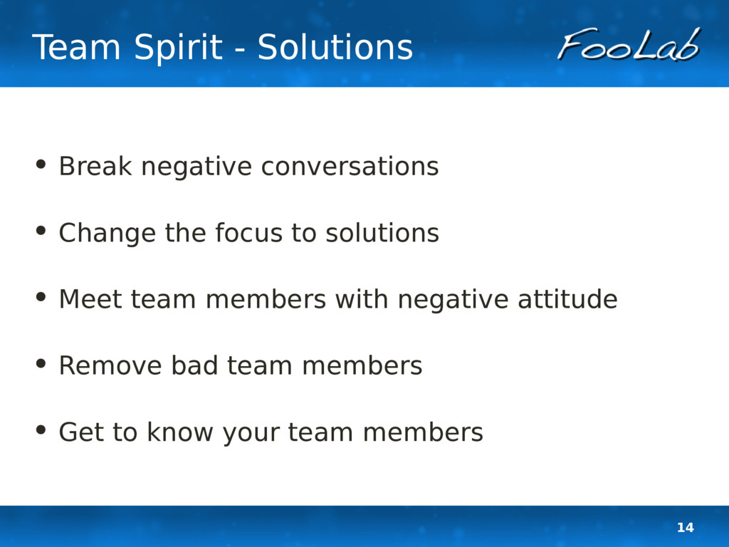 14 Team Spirit - Solutions • Break negative con...