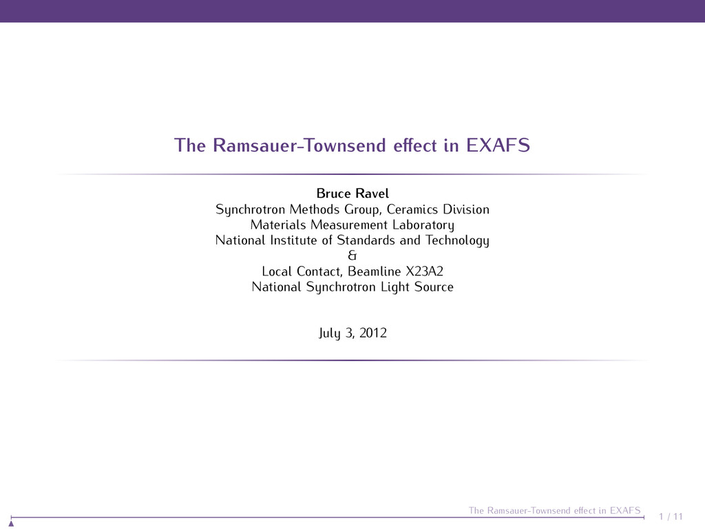The Ramsauer-Townsend effect in EXAFS Bruce Rave...