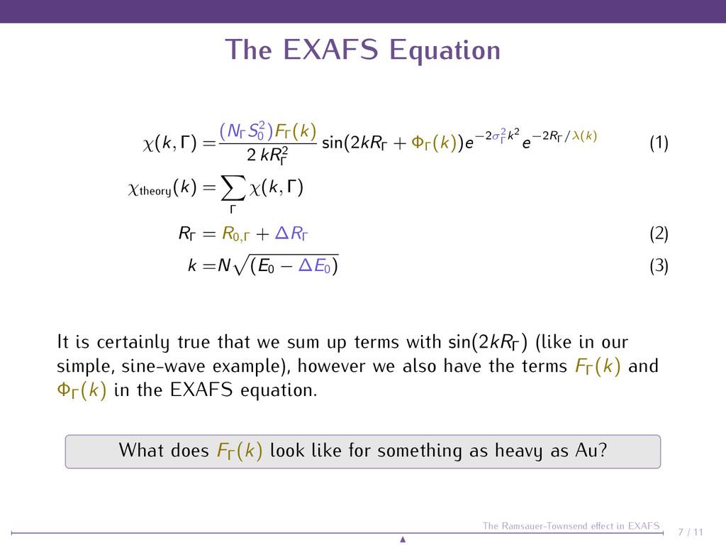 The EXAFS Equation χ(k, Γ) = (NΓ S2 0 )FΓ (k) 2...