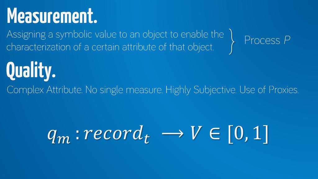 :  ⟶  ∈ [0, 1] Measurement. Quality.