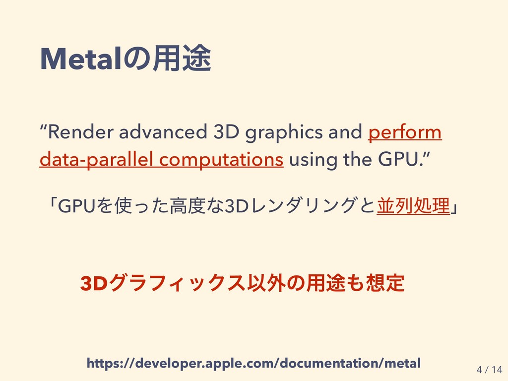 "Metalͷ༻్ ""Render advanced 3D graphics and perfo..."