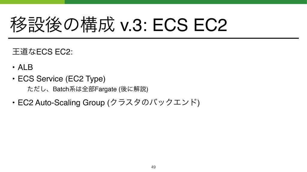 Ҡઃޙͷߏ v.3: ECS EC2 ԦಓͳECS EC2: • ALB • ECS Ser...