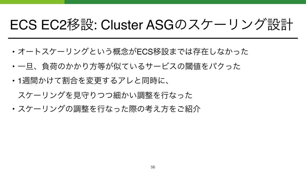ECS EC2Ҡઃ: Cluster ASGͷεέʔϦϯάઃܭ • ΦʔτεέʔϦϯάͱ͍͏֓...