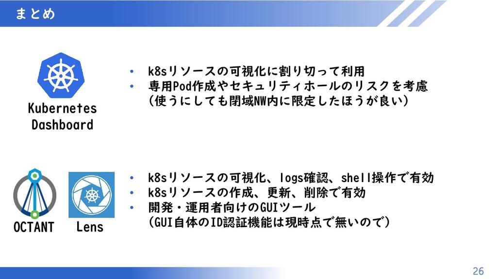 マスター タイトルの書式設定 まとめ 26 • k8sリソースの可視化、logs確認、shel...