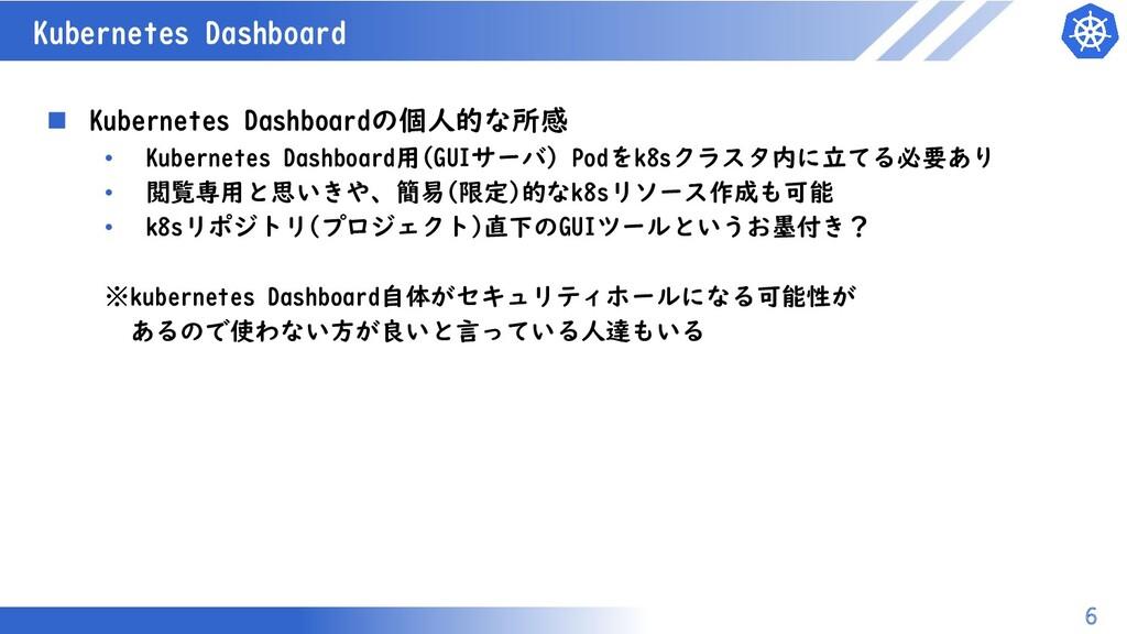 マスター タイトルの書式設定 Kubernetes Dashboard 6  Kuberne...