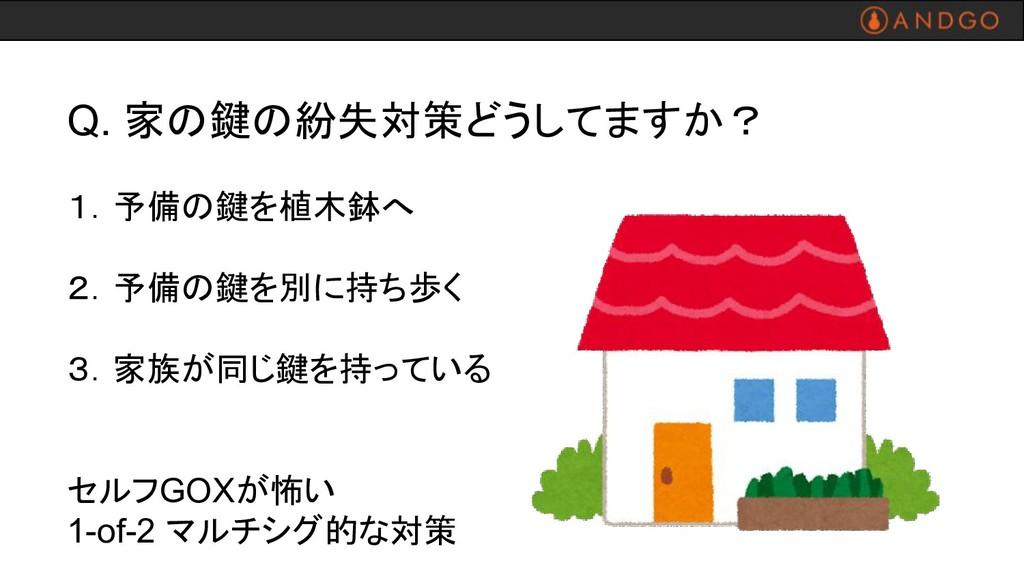 Q. 家の鍵の紛失対策どうしてますか? 1.予備の鍵を植木鉢へ 2.予備の鍵を別に持ち歩く 3...
