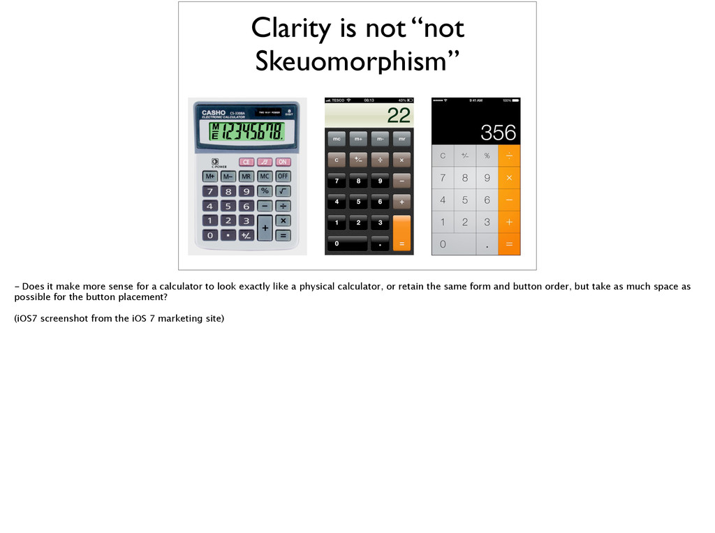 """Clarity is not """"not Skeuomorphism"""" - Does it ma..."""