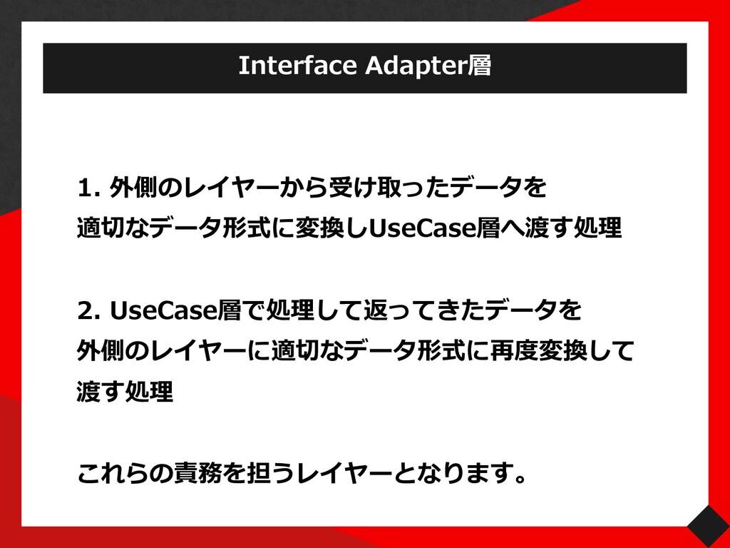 1. 外側のレイヤーから受け取ったデータを 適切なデータ形式に変換しUseCase層へ渡す処理...