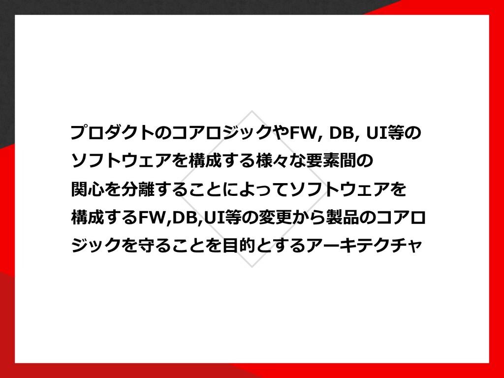 プロダクトのコアロジックやFW, DB, UI等の ソフトウェアを構成する様々な要素間の 関⼼...