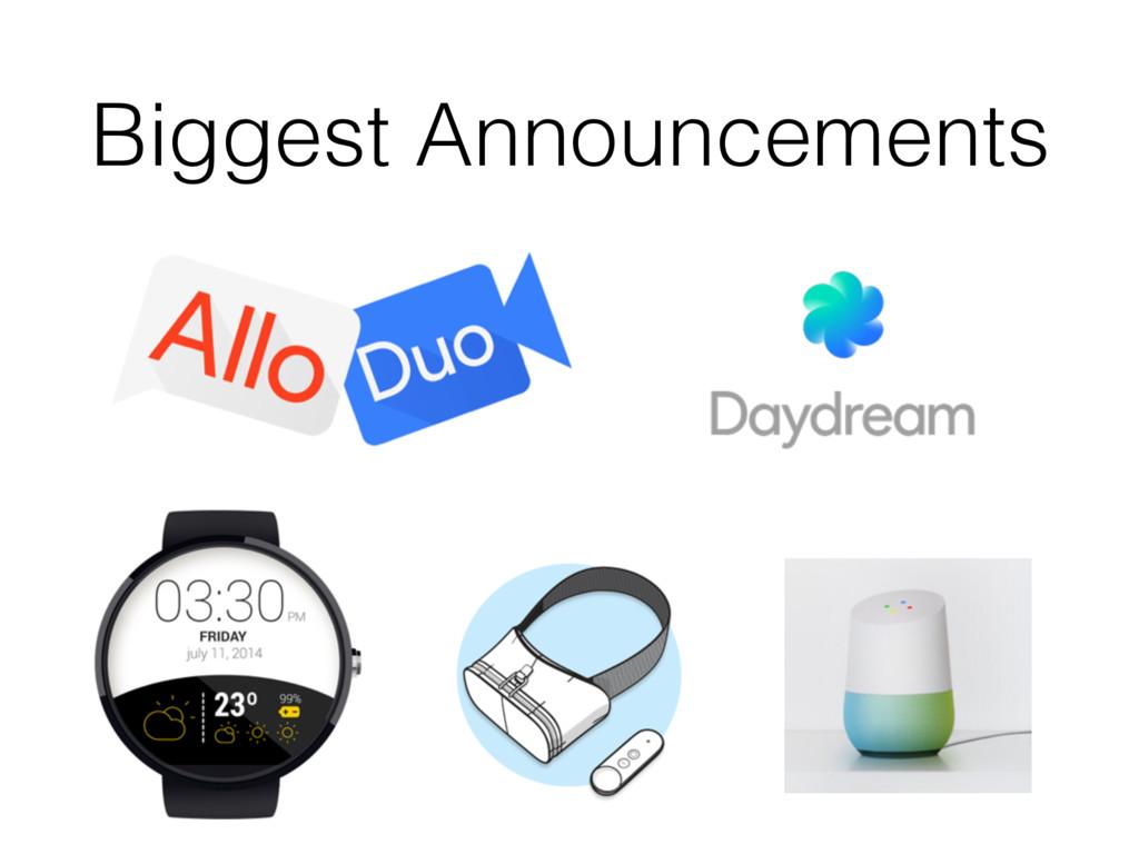 Biggest Announcements