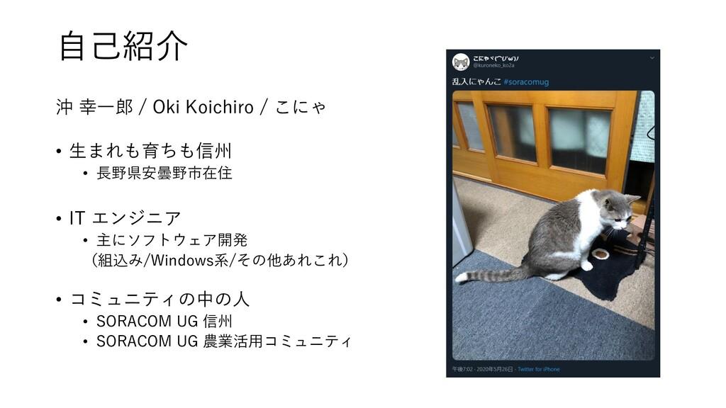 自己紹介 沖 幸一郎 / Oki Koichiro / こにゃ • 生まれも育ちも信州 • 長...