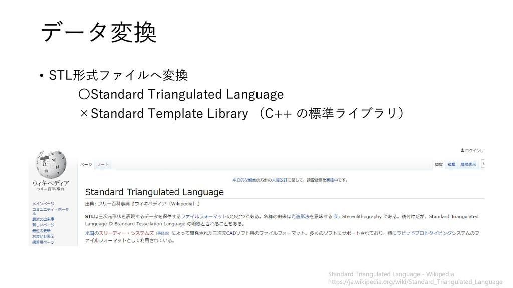 データ変換 • STL形式ファイルへ変換 〇Standard Triangulated Lan...