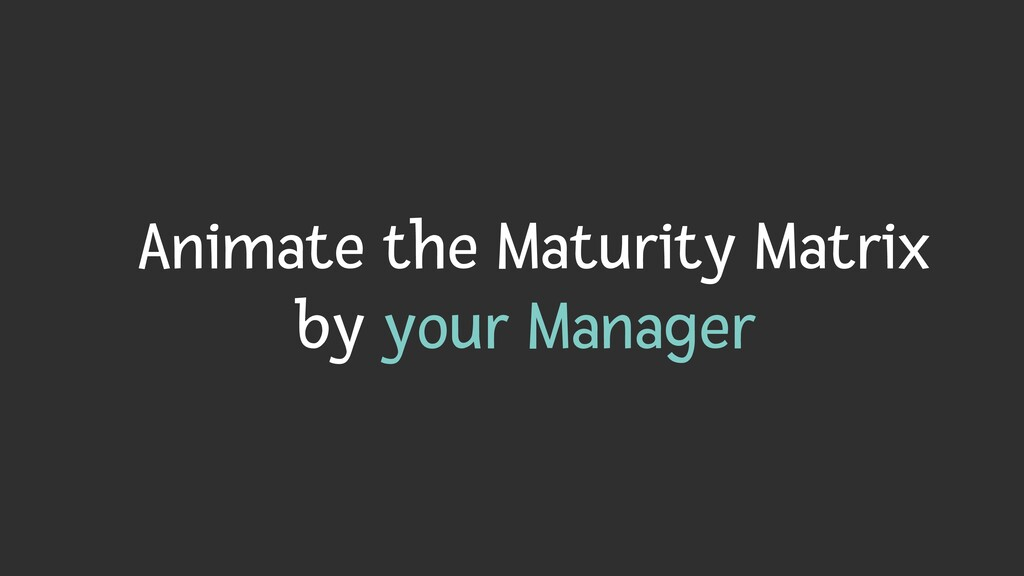 Animate the Maturity Matrix   by your Manager