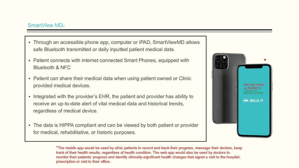 SmartView MD© ▪ Through an accessible phone app...