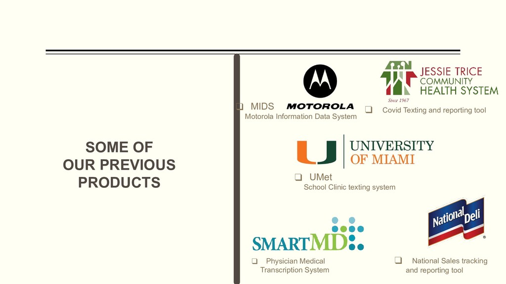 SOME OF OUR PREVIOUS PRODUCTS ❑ UMet School Cli...