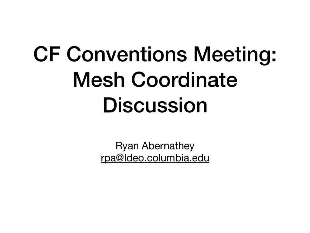CF Conventions Meeting: