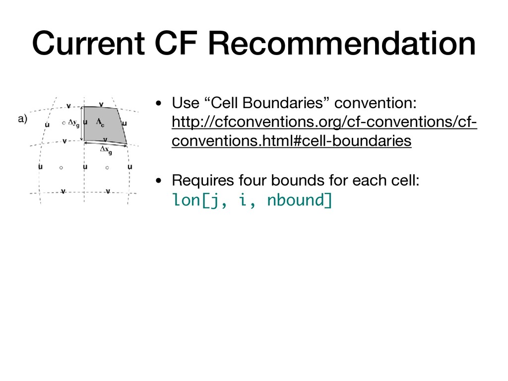 "Current CF Recommendation • Use ""Cell Boundarie..."