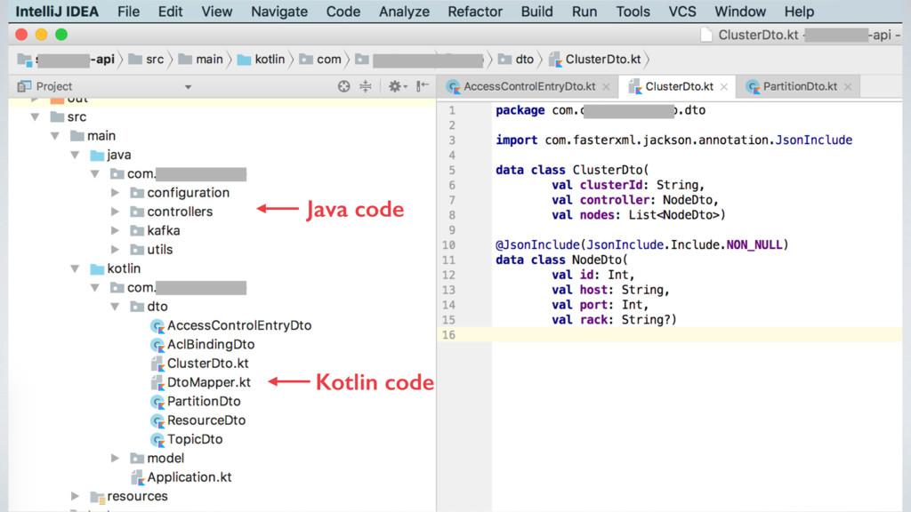 Java code Kotlin code