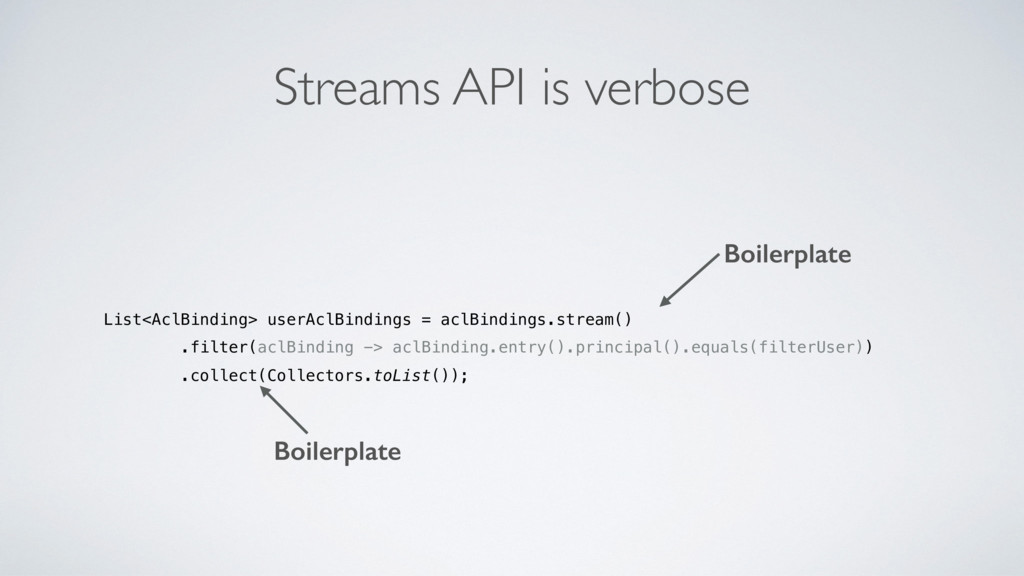 Streams API is verbose List<AclBinding> userAcl...