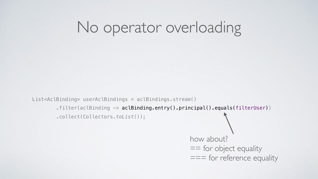No operator overloading List<AclBinding> userAc...