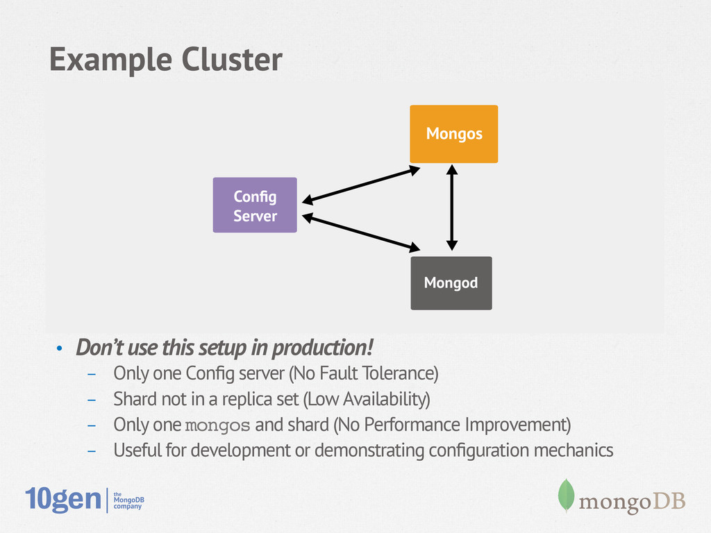 Example Cluster • Don't use this setup in prod...