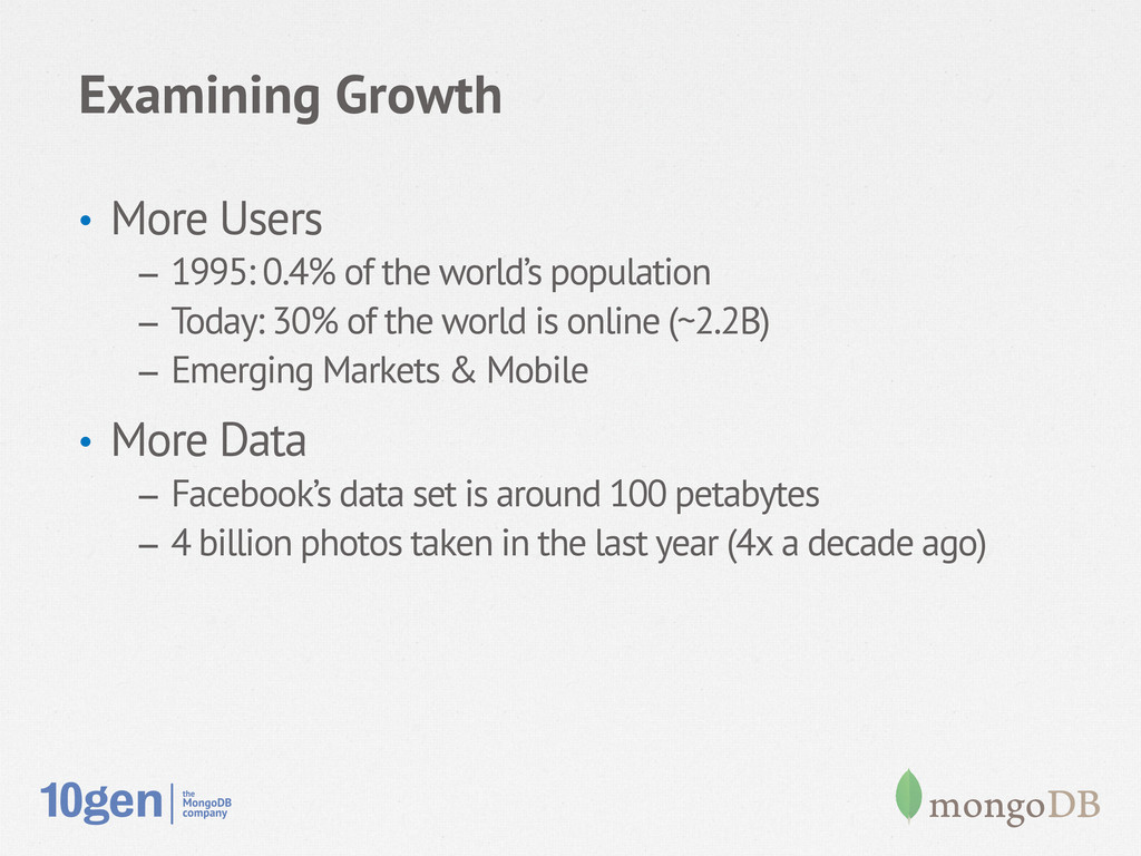 Examining Growth • More Users – 1995: 0.4% of...