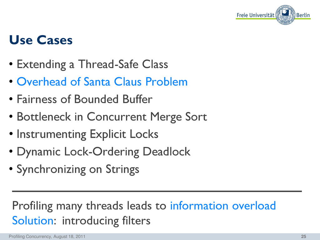 25 Use Cases Profiling Concurrency, August 18, ...