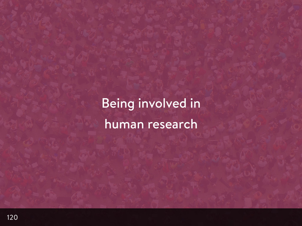 Being involved in human research 120