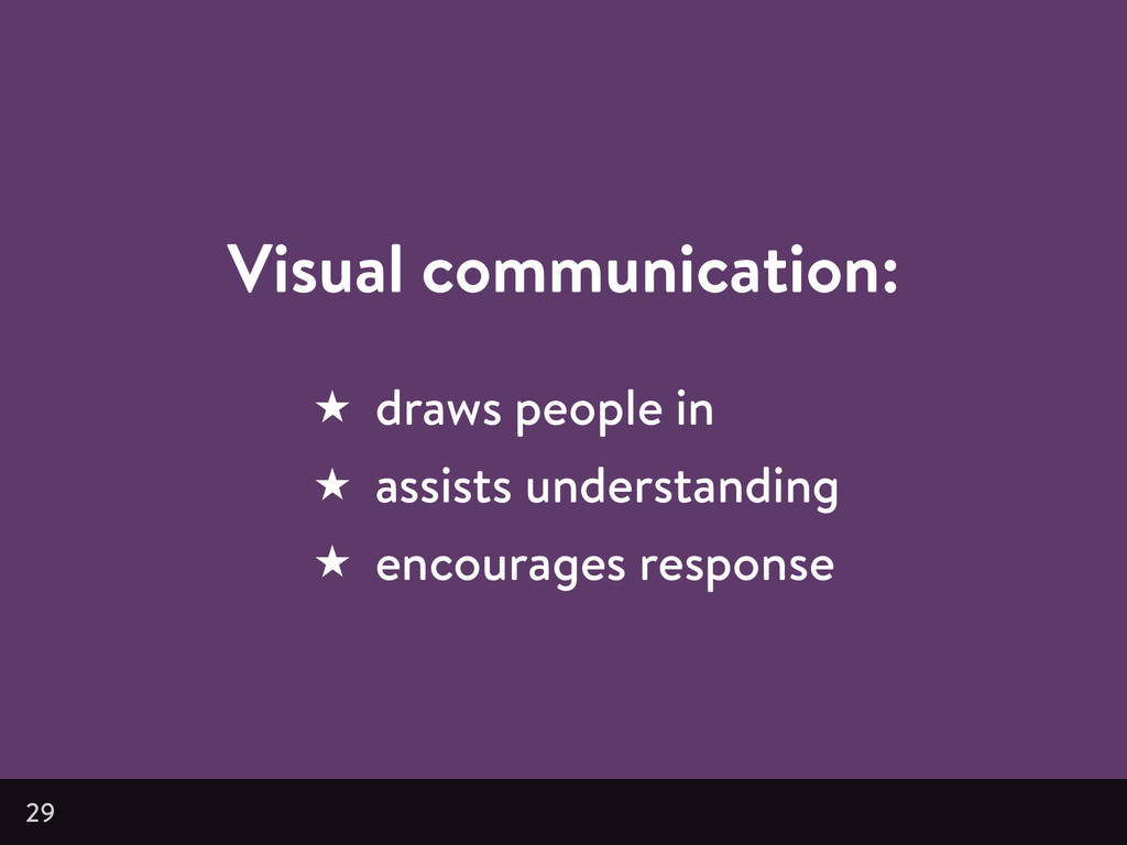 Visual communication: ★ draws people in ★ assis...