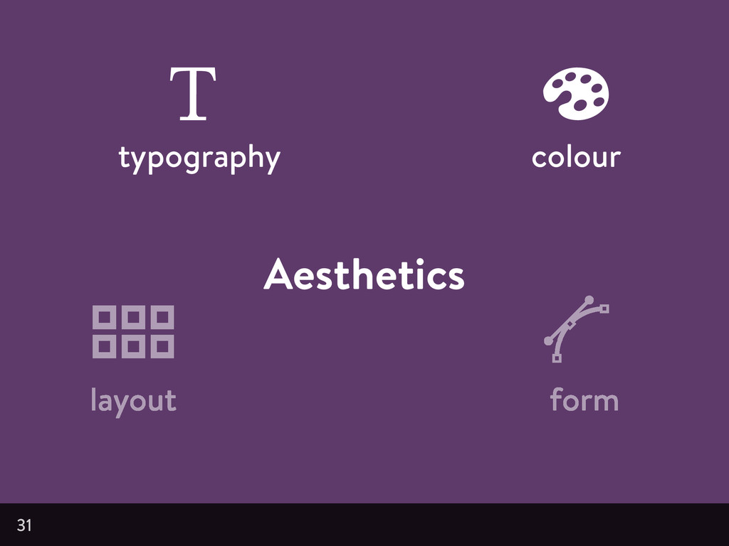 Aesthetics 31 typography colour layout form