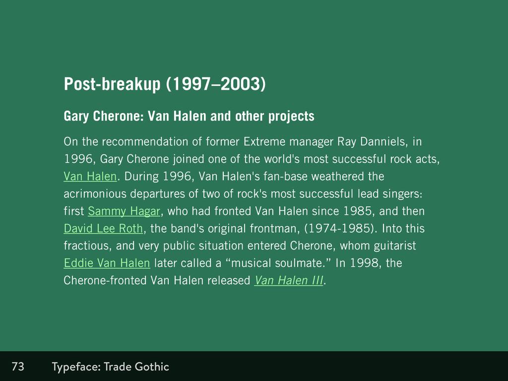73 Post-breakup (1997–2003) Gary Cherone: Van H...
