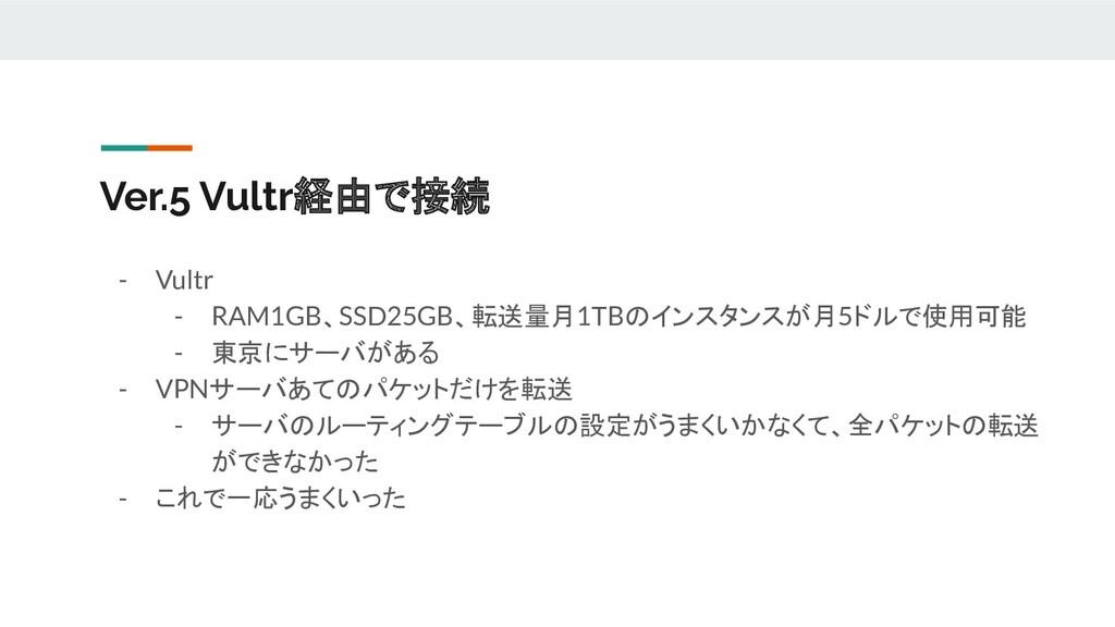 Ver.5 Vultr経由で接続 - Vultr - RAM1GB、SSD25GB、転送量月1...