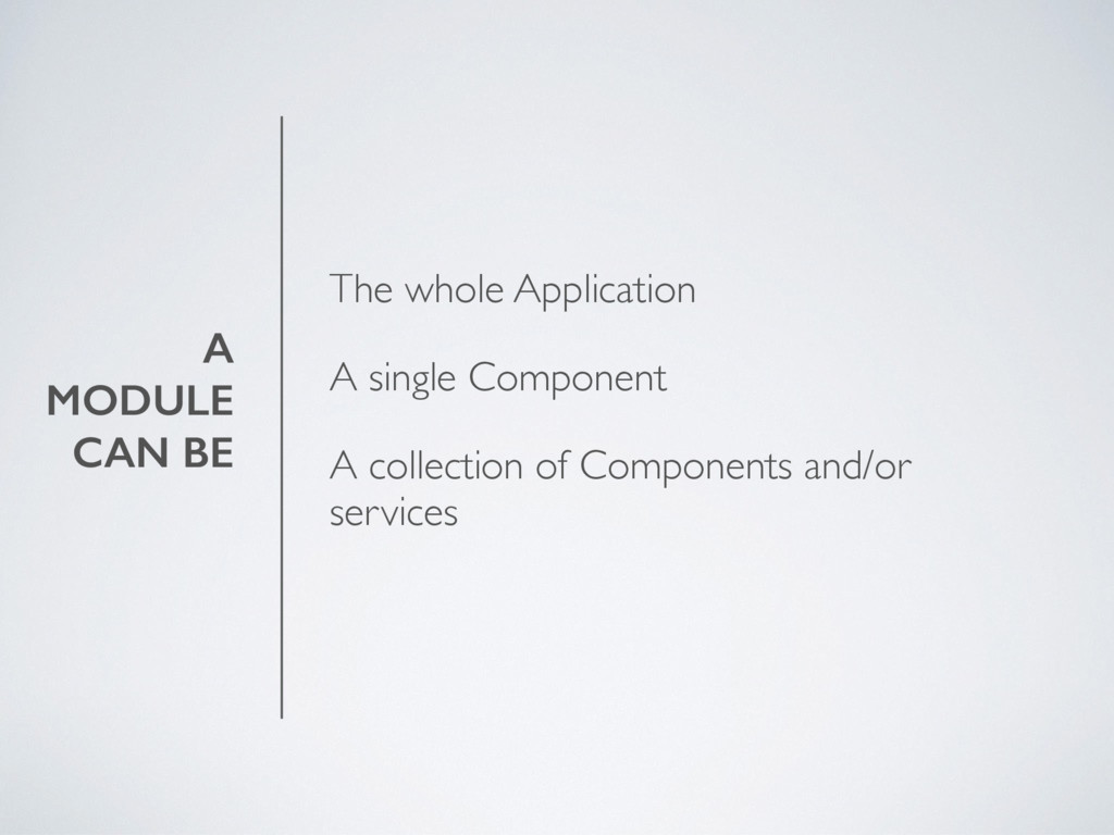 A MODULE CAN BE The whole Application A single ...