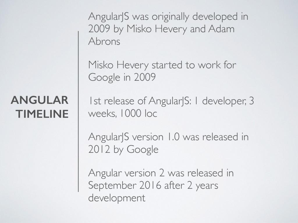 ANGULAR TIMELINE AngularJS was originally devel...