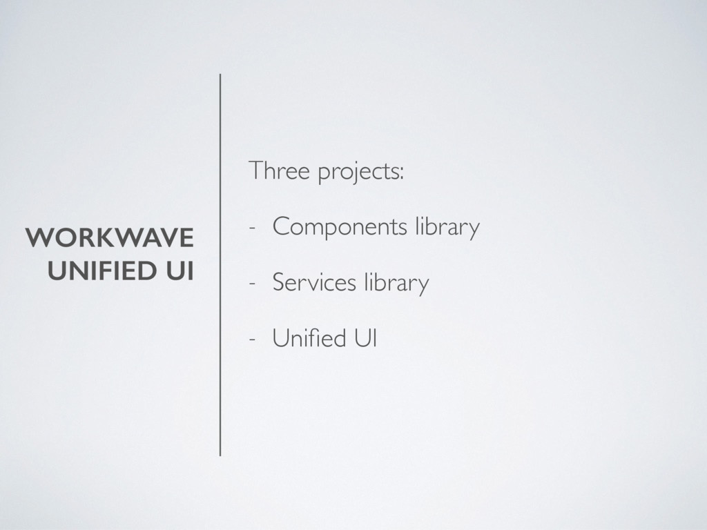 WORKWAVE UNIFIED UI Three projects: - Component...