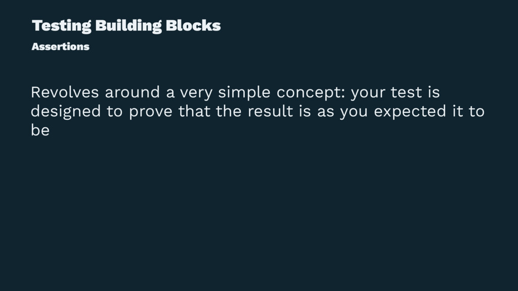 Testing Building Blocks Assertions Revolves aro...