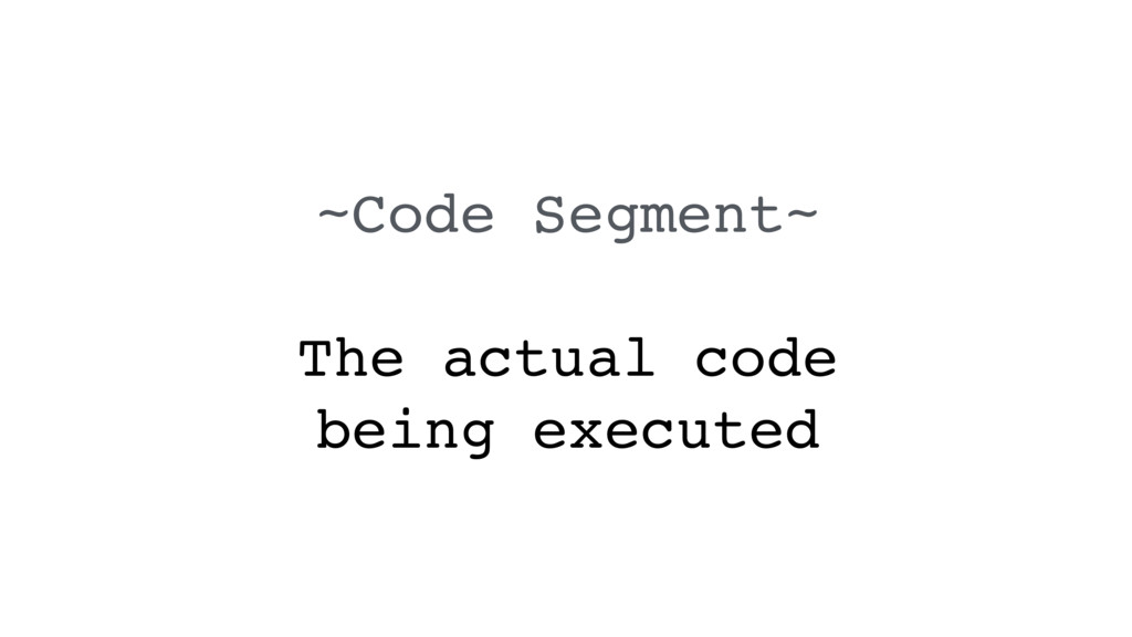 ~Code Segment~ The actual code being executed