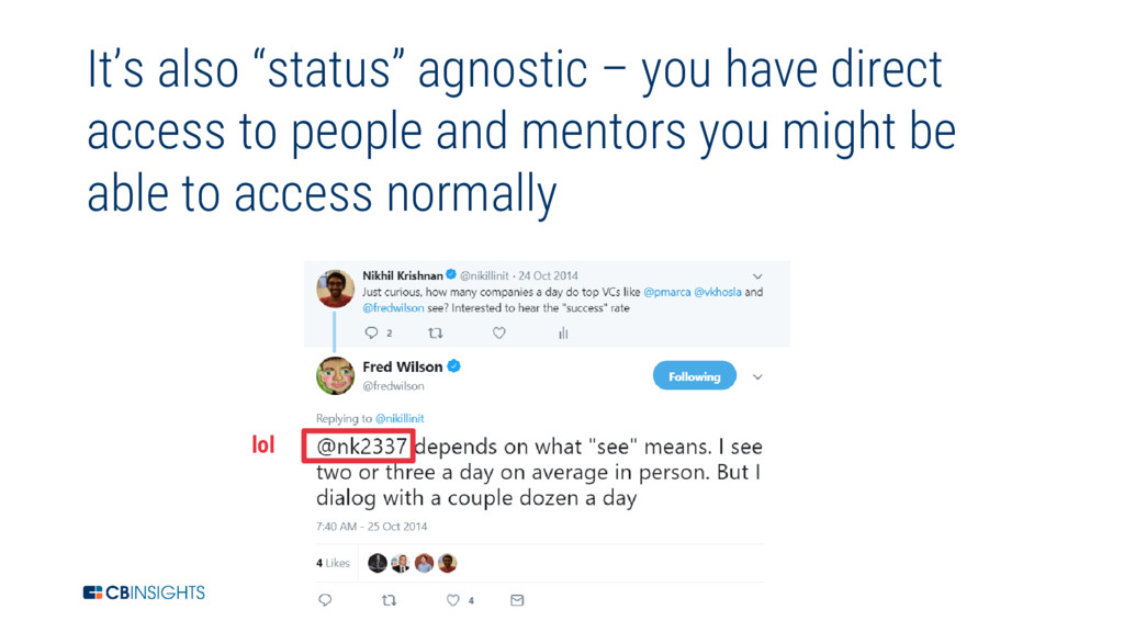 "14 It's also ""status"" agnostic – you have direc..."