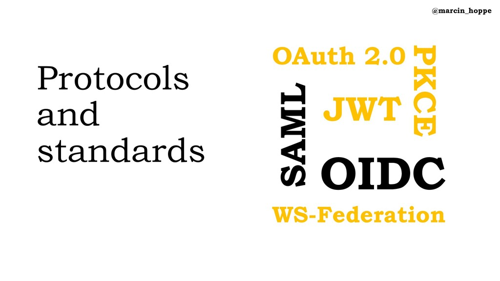 Protocols and standards @marcin_hoppe PKCE OIDC...