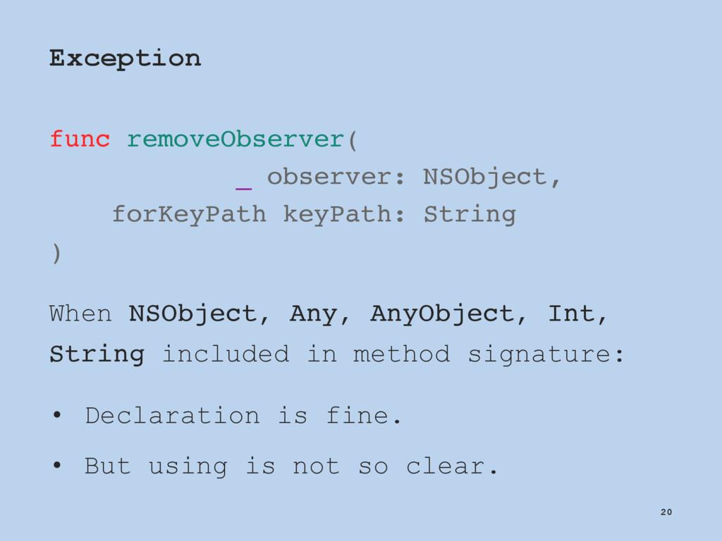Exception func removeObserver( _ observer: NSOb...
