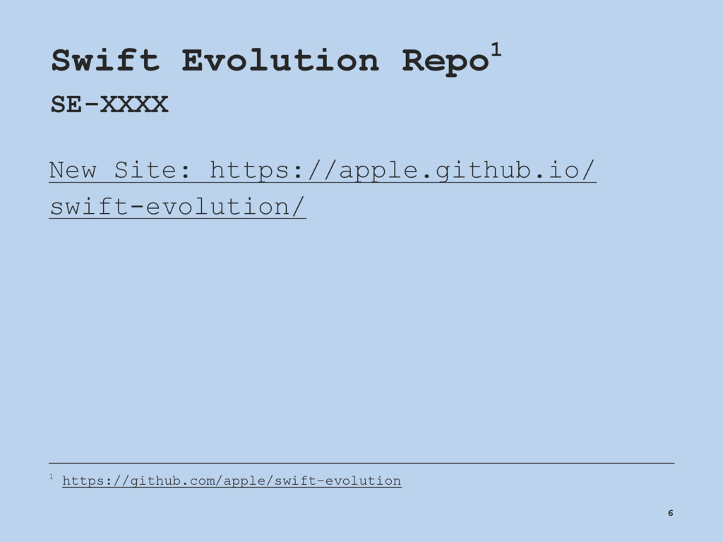 Swift Evolution Repo1 SE-XXXX New Site: https:/...