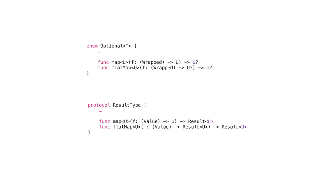 protocol ResultType { … func map<U>(f: (Value) ...